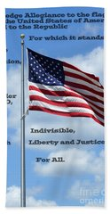Pledge Of Allegiance Beach Sheet by Paul  Wilford