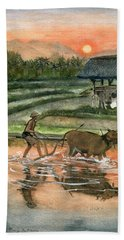 Plowing The Ricefield Beach Sheet by Melly Terpening