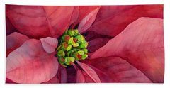 Plum Poinsettia Beach Towel