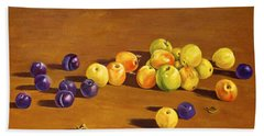Plums And Apples Still Life Beach Sheet