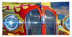 Aaron Berg Photography Beach Towel featuring the photograph Plymouth Oldie by Aaron Berg