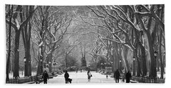 New York City - Poets Walk Winter Beach Sheet