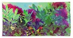 Beach Towel featuring the painting Pohutakawa Tree by Jocelyn Friis