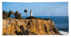 Point Vicente Lighthouse Beach Sheet by Eleanor Abramson