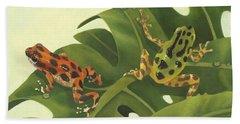 Green Tree Frogs Paintings Beach Towels