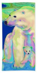 Beach Sheet featuring the painting Polar Bear Aurora by Teresa Ascone