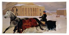 Pole Pair With A Trace Horse At The Bolshoi Theatre In Moscow Beach Towel by Nikolai Egorevich Sverchkov