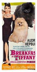 Pomeranian Art Canvas Print - Breakfast At Tiffany Movie Poster Beach Towel