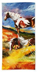 Ponies At Sunset Beach Towel