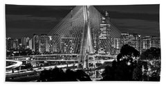 Sao Paulo - Ponte Octavio Frias De Oliveira By Night In Black And White Beach Towel