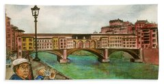 Ponte Vecchio Florence Italy Beach Towel by Frank Hunter