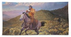 Pony Express Rider At Look Out Pass Beach Towel by Rob Corsetti