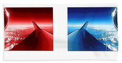 Beach Towel featuring the photograph Red Blue Jet Pop Art Planes  by R Muirhead Art