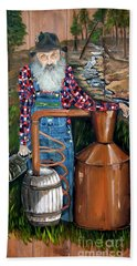 Beach Towel featuring the painting Popcorn Sutton - Moonshiner - Redneck by Jan Dappen