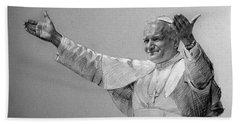 Pope John Paul II Bw Beach Towel