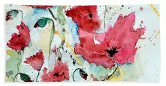 Beach Sheet featuring the painting Poppies 05 by Ismeta Gruenwald