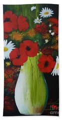 Poppies And Daisies Beach Towel