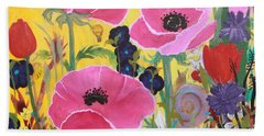 Poppies And Time Traveler Beach Towel