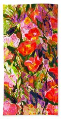 Beach Towel featuring the mixed media Poppies by Beth Saffer