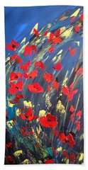 Poppies Field On A Windy Day Beach Sheet