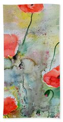 Beach Sheet featuring the painting Poppies - Flower Painting by Ismeta Gruenwald