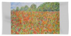 Poppies In A Field In Afghanistan Beach Sheet
