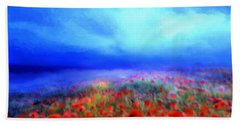 Poppies In The Mist Beach Towel