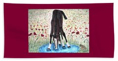 Beach Towel featuring the painting Poppies N  Puddles by Angela Davies