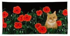 Poppy Cat Beach Towel