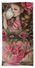 Beach Towel featuring the drawing Porcelain by Sheena Pike