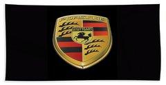 Porsche Logo On Black Beach Towel