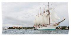 Juan Sebastian De Elcano Famous Tall Ship Of Spanish Navy Visits Port Mahon In Front Of Bloody Islan Beach Towel