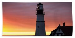 Portland Head Light At Dawn Beach Towel