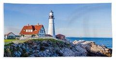 Portland Head Light House Cape Elizabeth Maine Beach Towel