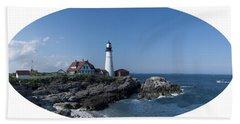 Portland Head Light House Beach Sheet by Daniel Hebard
