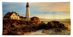 Portland Head Lighthouse At Dawn Beach Sheet by Jerry Fornarotto