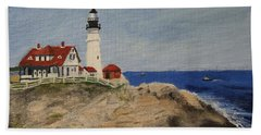 Portland Head Lighthouse In Maine Beach Towel