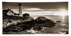 Beach Sheet featuring the photograph Portland Head Lighthouse Sunrise by Alana Ranney