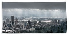 Portland Oregon After A Morning Rain Beach Towel