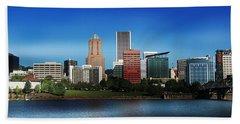 Beach Towel featuring the photograph Portland Oregon Skyline  by Aaron Berg