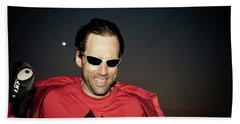 Portrait Of A Blind Athlete Leaning Beach Towel