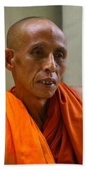 Portrait Of A Buddhist Monk Yangon Myanmar Beach Towel