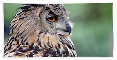 Portrait Of A Great Horned Owl Beach Towel