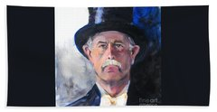 Beach Towel featuring the painting Portrait Of A Man In Top Hat by Greta Corens