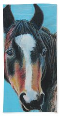 Beach Towel featuring the painting Portrait Of A Wild Horse by Jeanne Fischer