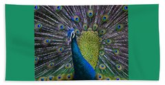 Portrait Of A Peacock Beach Sheet by Venetia Featherstone-Witty