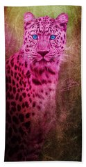 Portrait Of A Pink Leopard Beach Towel