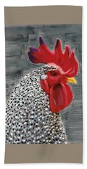 Beach Towel featuring the painting Portrait Of A Rooster by Deborah Boyd