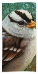 Portrait Of A Sparrow Beach Towel by James W Johnson