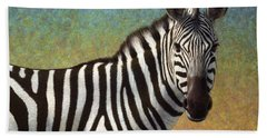 Portrait Of A Zebra Beach Towel by James W Johnson